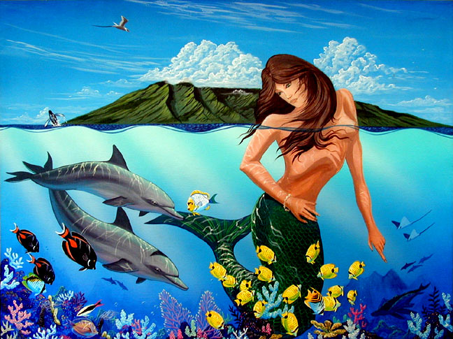 """Mermaids have been a fantasy that have filled my mind with wonder . As I sat on the beach in Maui my mind could envision a beautiful maden as she played with the dolphins just below the surface. What if?"""