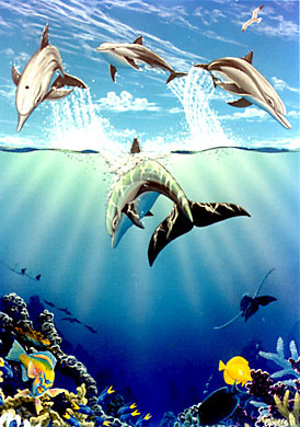 4.Day of the Dolphin, acrylic on canvas above and below painting of dolphins, Hilton Whaikaloa in Hawaii by the environmental artist Apollo, poster and phone card
