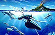 """Mystic Rythms"" humpback whales  and dolphins Painting by Apollo ©  HawaiiWhale Art and Dolphin Art  This painting of Whales is not a wyland please do not confuse his work with Apollo's Art."
