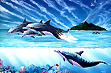 """New Beginnings"" dolphin painting, marine art, dolphin paintings, whale paintings by Apollo environmental artist©  Whale Art and Dolphin Art This painting of Dolphins is not a wyland please do not confuse his work with Apollo's Art."