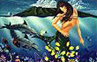mermaid with dolphins painting.Whale Art and Dolphin Art This painting of Dolphins is not a wyland please do not confuse his work with Apollo's Art.