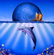 Whale Art and Dolphin Art This painting of Dolphins is not a wyland please do not confuse his work with Apollo's Art.