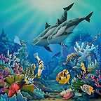 pair of dolphins with reef fish. Whale Art and Dolphin Art This painting of Dolphins is not a wyland please do not confuse his work with Apollo's Art.