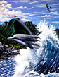 Dolphin Painting by Apollo ©  Whale Art and Dolphin Art This painting of Dolphins is not a wyland please do not confuse his work with Apollo's Art.
