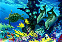 dolphins with green sea turtles. Whale Art and Dolphin Art This painting of Dolphins is not a wyland please do not confuse his work with Apollo's Art.